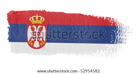 Brushstroke Flag Serbia - stock photo
