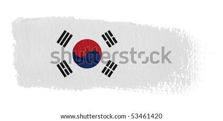 Brushstroke Flag South Korea - stock photo