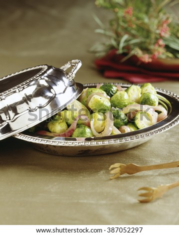 Brussel spout salad served in plate - stock photo
