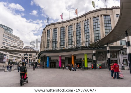 Brussels, Belgium, April 26, 2014. People in front of the entrance of the Central Train Station (Bruxelles-Central / Brussel-Centraal), in Carrefour de L'Europe - stock photo
