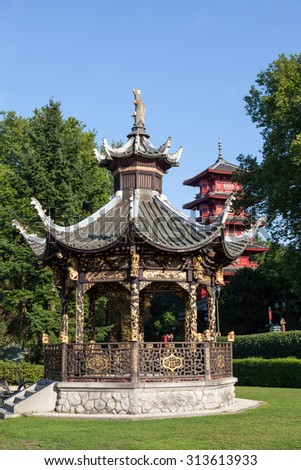 BRUSSELS, BELGIUM - AUG 22: Chinese pavilion and a japanese tower at the Museum of the Far East in Brussels. August 22, 2015 in Brussels, Belgium - stock photo