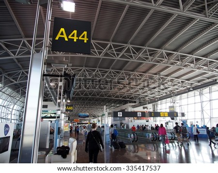 BRUSSELS, BELGIUM - AUG 13: Interior of the Brussels International Airport in Brussels, Belgium on August 13, 2013. Brussels is the capital of Belgium. - stock photo