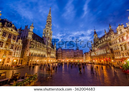 BRUSSELS, BELGIUM - 11 AUGUST, 2015: Stunning photo of spectacular Gran Place main square during beautiful sunset. - stock photo