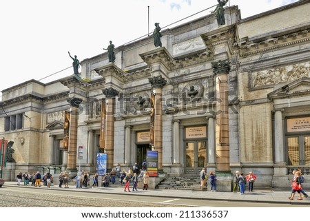BRUSSELS, BELGIUM - AUGUST 15: The Royal Museum of Belgium in Dowtown Brussels on 15 August,2014. It contains over 20,000 drawings, sculptures, and paintings. - stock photo