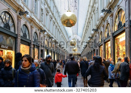 BRUSSELS, BELGIUM-DECEMBER 6, 2014: Gallery St. Hubert in historical center of the city decorated for Christmas celebrations - stock photo