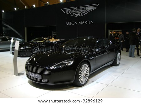 BRUSSELS, BELGIUM - JANUARY 15: Aston Martin Rapide shown at Euro Motors 2012 exhibition on January 15, 2012 in Brussels, Belgium - stock photo
