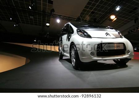 BRUSSELS, BELGIUM - JANUARY 15: Citroen C-Zero electric car shown at Euro Motors 2012 exhibition on January 15, 2012 in Brussels, Belgium - stock photo