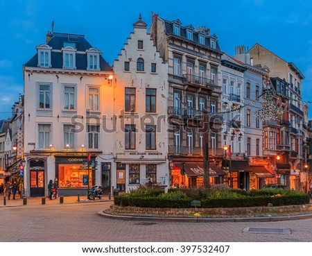 Brussels , Belgium - January 17th, 2015: Cityscape of Brussels at sunset. Brussels is the capital of Belgium and the administrative capital of the EU. - stock photo
