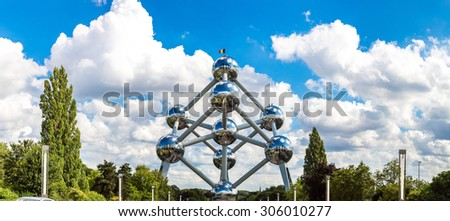 BRUSSELS, BELGIUM - JULY 6: Atomium structure in summer day in Brussels, Belgium on July 6 2014 - stock photo