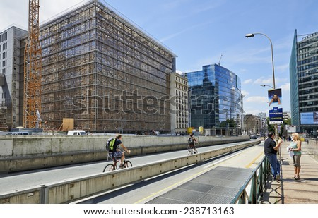 BRUSSELS, BELGIUM - JULY 16, 2014:Europa building final step of the construction on july 16, 2014 in Brussels. Europa building is the new headquarters of the European Council and the Council of the EU - stock photo