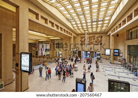 BRUSSELS, BELGIUM - JULY 27, 2014: Interior of the main lobby of Brussels Central Train Station on July 27, 2014 in Brussels , Belgium - stock photo