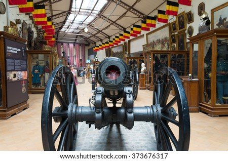 BRUSSELS, BELGIUM - JULY 10, 2015: Interior of the Royal Museum of the Armed Forces and Military History. The museum has a list of more than ten centuries of military history. - stock photo