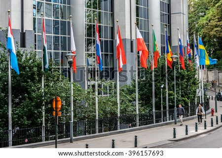 BRUSSELS, BELGIUM - JUNE 19, 2014: Cityscape of Brussels. Brussels is the capital of Belgium and the administrative capital of the EU. - stock photo