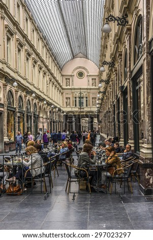 BRUSSELS, BELGIUM - JUNE 19, 2014: Royal Galleries Saint Hubert. The galleries opened in 1847 and are one of main attractions of city. - stock photo
