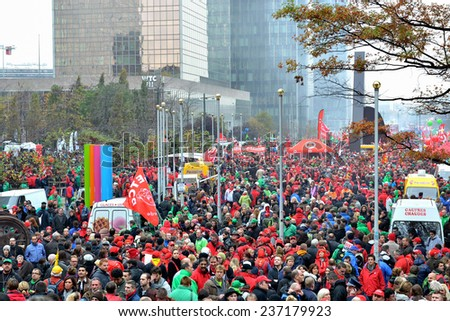 BRUSSELS, BELGIUM-NOVEMBER 06, 2014: National manifestation against austerity measures introduced by Belgian government. More than 100000 participants expected on streets of Brussels - stock photo