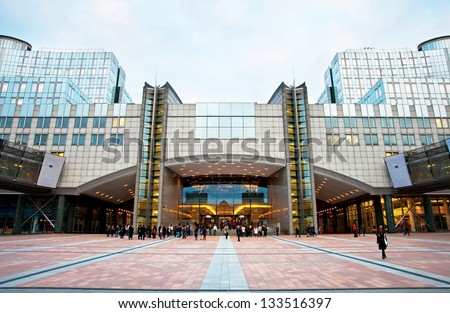 BRUSSELS, BELGIUM - OCTOBER 9: Exterior of the building of the European Parliament in Brussels, Belgium on October 9, 2012. Meetings of the whole Parliament take place here. - stock photo