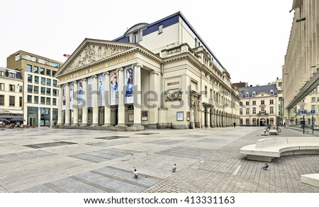 BRUSSELS, BELGIUM - SEPTEMBER 12, 2015: The empty square of the Royal Theatre la Monnaie in Brussels in Belgium - stock photo