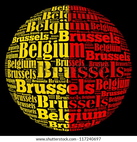 Brussels capital city of Belgium info-text graphics and arrangement concept on black background (word cloud) - stock photo