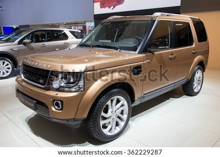 BRUSSELS - JAN 12, 2016: Land Rover Discovery on display at the Brussels Motor Show. - stock photo