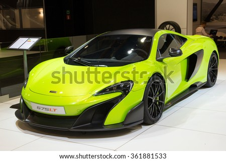 BRUSSELS - JAN 12, 2016: McLaren 675LT sports car shown at the Brussels Motor Show. - stock photo