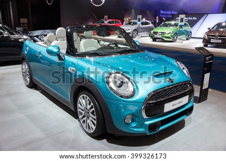 BRUSSELS - JAN 12, 2016: Mini Cooper S Cabrio on display at the Brussels Motor Show. - stock photo