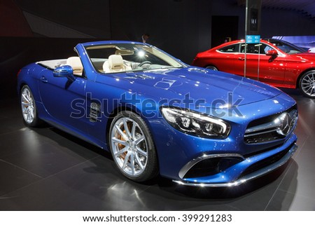 BRUSSELS - JAN 12, 2016: New Mercedes AMG SL65 Convertible Roadster on display at the Brussels Motor Show.