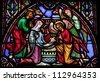 BRUSSELS - JULY 26: Stained glass window depicting Nativity Scene on Christmas in the cathedral of Brussels on July, 26, 2012. - stock photo