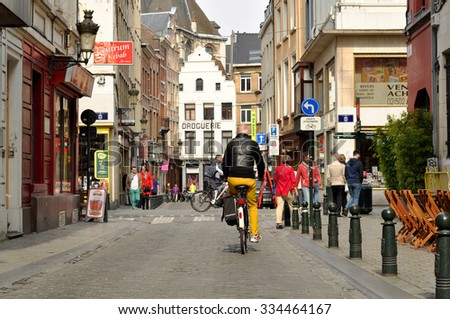 BRUSSELS - MAY 02:  Street of the old town in Brussels on May 02. 2015 in Belgium - stock photo