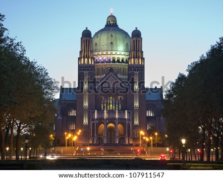Brussels - National Basilica of the Sacred Heart in evening - stock photo
