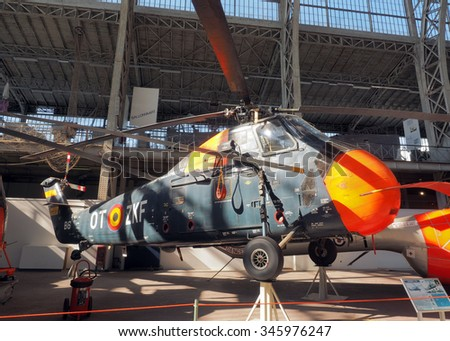 BRUSSELS-OCT. 1: A Sikorsky S- 58 military antique  helicopter is on display at Royal Museum of   Armed Forces and of Military History  Cinquantenaire Park  Brussels, Belgium on Oct. 1, 2015.  - stock photo