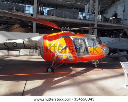 BRUSSELS-OCT. 1:  Bristol 171 Sycamore HC 14 helicopter, antique fighter   \on display at  Royal Museum of  Armed Forces and  Military History in Cinquantenaire Park Brussels, Belgium on Oct. 1, 2015. - stock photo