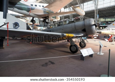 BRUSSELS-OCT. 1:  North American T-6 historic, antique fighter airplane  seen   at  Royal Museum of  Armed Forces and  Military History in Cinquantenaire Park Brussels, Belgium on Oct. 1, 2015. - stock photo