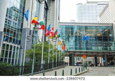 BRUSSELS - OCTOBER 7, 2014: European Parliament building on October 7, 2014 in Brussels, Belgium. The European Parliament is the directly elected parliamentary institution of the European Union (EU). - stock photo