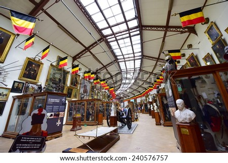 BRUSSELS - SEPTEMBER 16: Collection of exhibits at the Royal Museum of the Armed Forces and Military History, taken on September 16, 2014 in Brussels, Belgium - stock photo