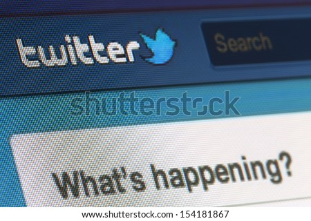 BRUSSELS - SEPTEMBER 13: Twitter Is Going Public on September 13, 2013 in Brussels - stock photo