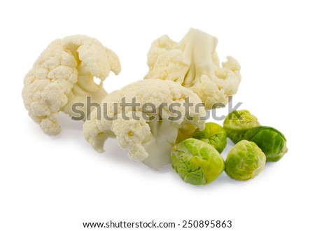 brussels sprouts and cauliflower isolated on white background - stock photo