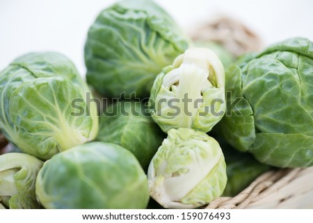 Brussels sprouts, close-up, horizontal shot - stock photo