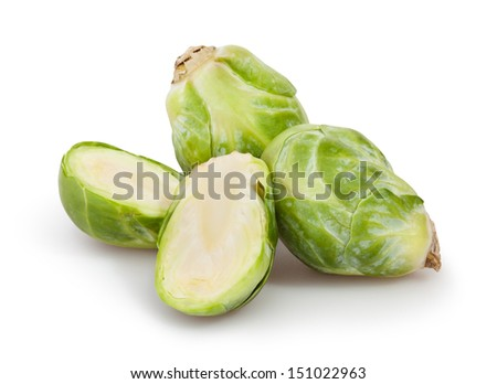 brussels sprouts cut on white background - stock photo