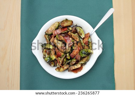 Brussels sprouts with bacon - stock photo