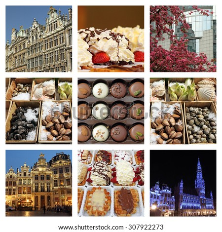 Brussels to see and to eat composition - stock photo