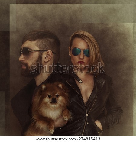 Brutal man and woman in sunglasses, with a dog. The effect of multiple exposure, photo collage - stock photo