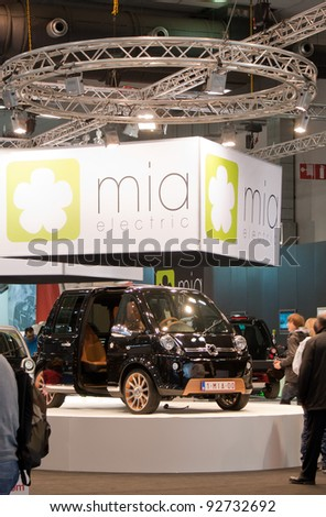 BRUXELLES, BELGIUM - JANUARY 14: MIA electric car on display at Belgian Auto Salon 2012 on January 14, 2012 in Bruxelles, Belgium - stock photo