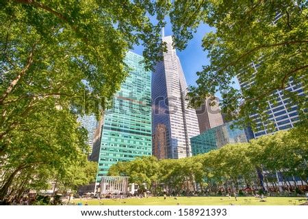 Bryant Park Garden and Skyscrapers - New York City. - stock photo
