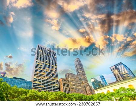 Bryant Park summer lights in Manhattan - New York City. - stock photo
