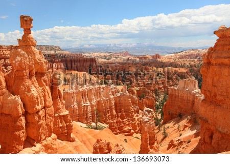 Bryce Canyon National Park landscape, Utah, United States. Nature scene showing beautiful hoodoos, pinnacles and spires rock formations. including Thors Hammer. Summer. - stock photo