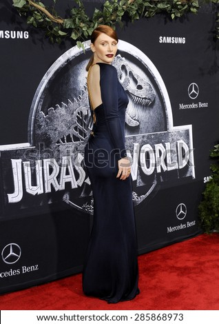 Bryce Dallas Howard at the Los Angeles premiere of 'Jurassic World' held at the Dolby Theatre in Hollywood, USA on June 9, 2015.  - stock photo