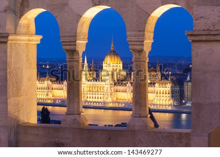Buadpest panorama view from Gellert hill, Hungary - stock photo