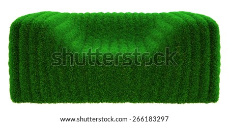 bubble armchair of the grass on a white background - stock photo