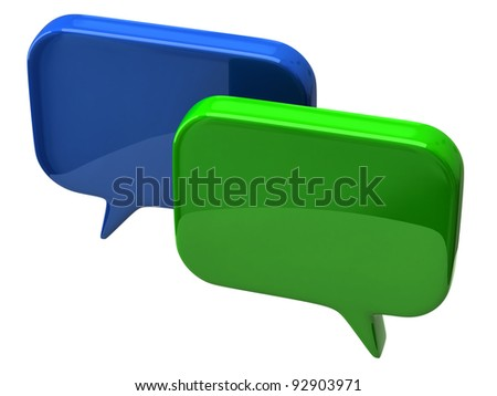 Bubble chat icon on white background - stock photo