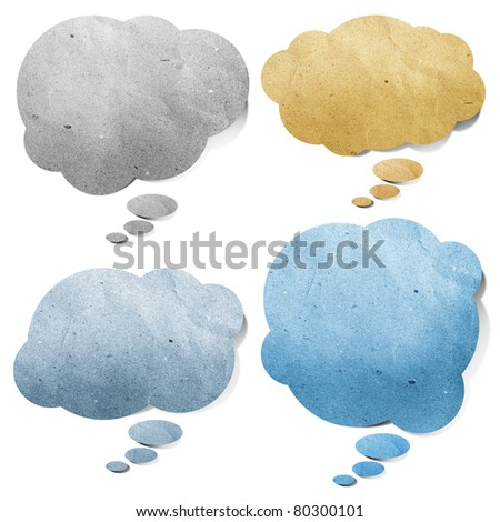 bubble cloud talk  tag recycled paper craft stick on white background - stock photo